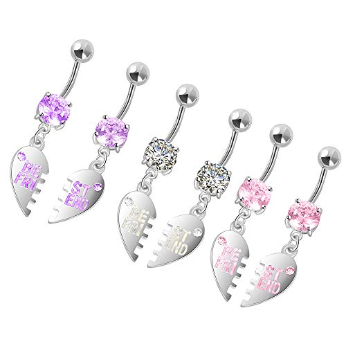 HuayoRong 6Pcs Heart Dangle Belly Button Ring Stainless Steel Lovers or Best Friends Belly Ring Body Jewelry 14G