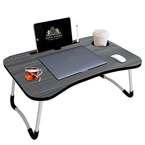 VIBKA Multipurpose Foldable Laptop Table with Cup Holder   Drawer   Mac Holder   Table Holder Study Table, Breakfast Table, Foldable and Portable/Ergonomic & Rounded Edges/Non-Slip Legs
