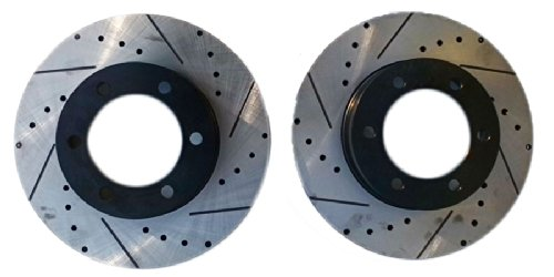 Premium Performance Drilled and Slotted Disc Brake Rotors Front Pair Approved Performance J33422R