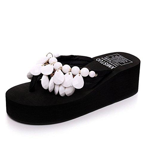 Sandalen Strand Damenschuhe GSHGA Römersandalen Strap Bohemia Handarbeit Perlen Mode T White Hausschuhe vqIwHwYnX