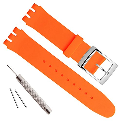 Silver Plated Stainless Steel Buckle Waterproof Silicone Rubber Watch Strap Watch Band (17mm, - Swatch Orange