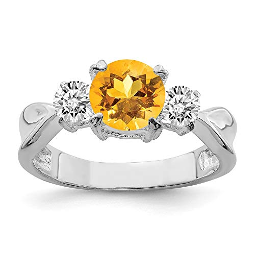 (925 Sterling Silver Yellow Citrine Band Ring Size 8.00 Stone Gemstone Fine Jewelry Gifts For Women For Her)