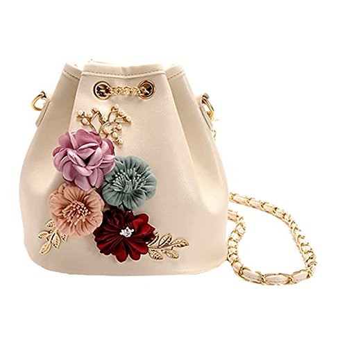 Floral Purse Hanger - Felice Women Girls Flower Inlaid Drawstring Handbag Mini Bucket Purse Small Cross-body Bag (beige with flower)