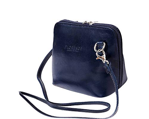 (LaGaksta Small Flat Handmade Italian Leather Crossbody Bag Purse Clutch Dark Blue)