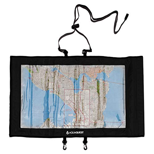 Aqua Quest Trail Map Case - 100% Waterproof Map & Document Holder - Multipurpose Transparent Clear Dry Bag - Black