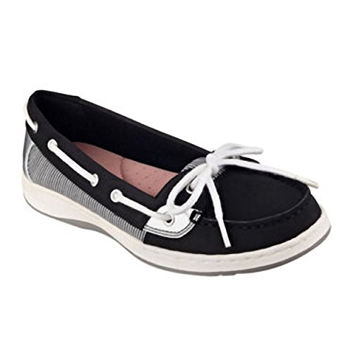 Liz Claiborne Saber Boat Shoes, Black, Size 5