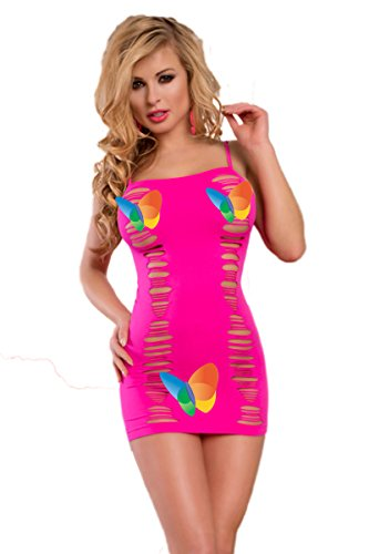 O'Mango Sexy Women Short Pink Lingerie Dress With Horizontal Slit Design in Front and Back, Pullover Stretch Design