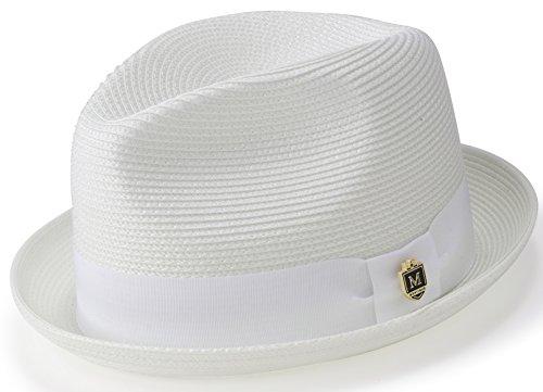 MONTIQUE Braided Straw Stingy Brim Pinch Fedora Hat Matching Grosgrain Band H-55 (Large, White)