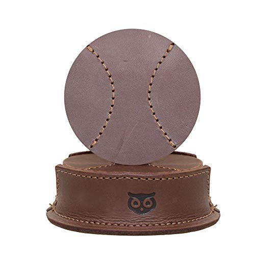 - Durable Thick Leather Baseball Coasters (6-Pack) Handmade by Hide & Drink :: Bourbon Brown