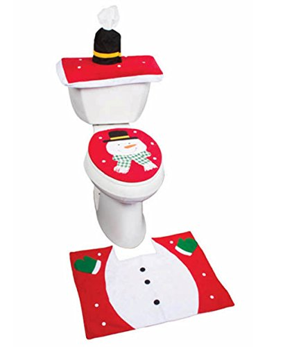 Santa Toilet Seat Cover and Rug Set - 4 Pcs Bathroom Christmas Decorations Set (Snowman)