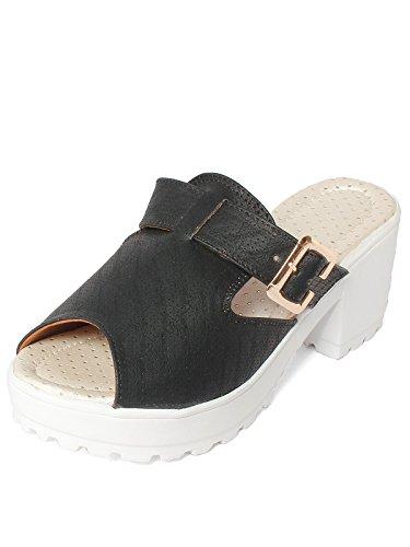meriggiare Women PU Black Heels