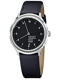 Unisex MH1.R2220.LB Helvetica No1 Regular Analog Swiss Quartz Black Leather Watch