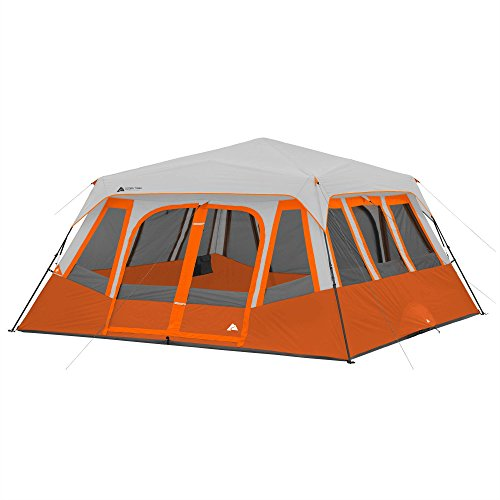 Instant-Cabin-Tent-for-14-Persons-with-2-Rooms-and-Windows-Includes-Room-Divider-Rainfly-Electrical-Cord-Organizers-Pockets-Carry-Bags-and-Stakes-Ozark-Trail-Great-for-Family-Camping