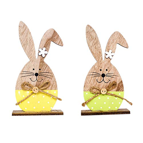 Ecurson2pcs Easter Decorations Wooden Rabbit Shapes Ornaments Craft Gifts