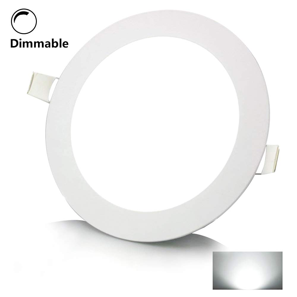 12W 6 Inch Dimmable Flat LED Recessed Light,Round Ultra-Thin LED Panel Downlight,960lm Cool White 6000K Anti-Fog Panel Ceiling Lighting LED Driver for Office, Home, Hotel