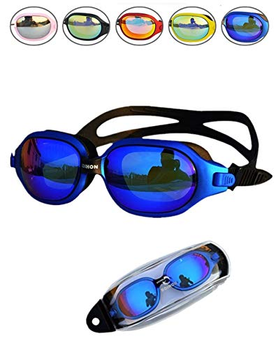 YI HONG Swim Goggles No Leaking Anti Fog UV Protection Triathlon Swimming Goggles with Free Protection Case for Adult Men Women Youth Kids Child, Multiple Choice (Blue)