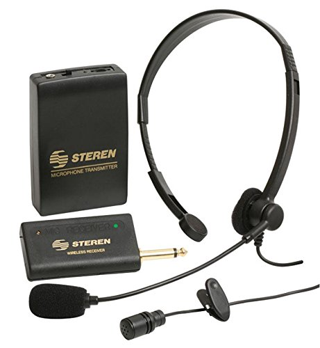 VoiceBooster Steren Wireless Headset/Tie-Clip Microphone Kit, for use with VoiceBooster Amplifiers