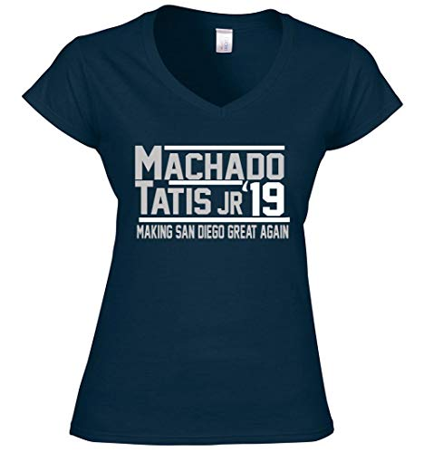 Navy San Diego Machado Tatis Jr 2019 Ladies V-Neck T-Shirt Adult