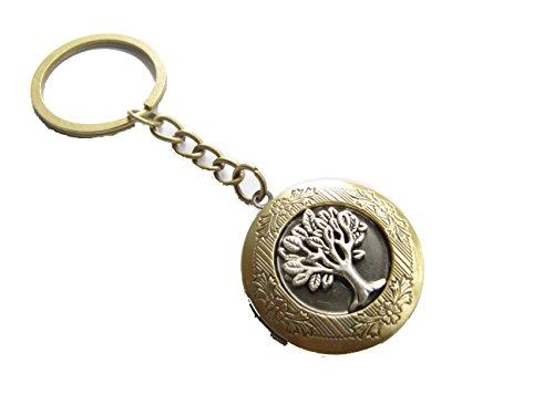 Engraved Locket Keychain - Tree of Life Locket Keychain, Tree Locket Keyring, Family Tree Charm, Wish Tree Locket Keychain,nature Charm
