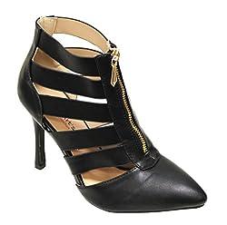 Heart's Zara-01 Women's pointy toe upper zip bondage high heel stiletto pumps Black 5.5