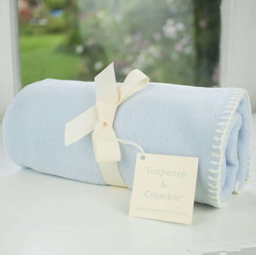 Tuppence and Crumble soft fleece new born baby blanket Pale Blue