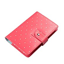 Labon's Binder Closure Refillable Writing Filofax Softcover Dots Button Personal Organizer for A6 Insert Loose Leaf Paper/ Planner Calendar/ Weekly Monthly Schedule Stainless Steel 6 Rings Red