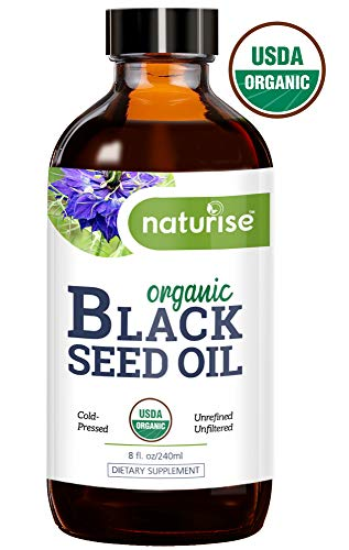 Naturise Black Seed Oil Organic Cold Pressed - Black Cumin Seed Oil, Nigella Sativa - Source of Essential Fatty Acids, Omega 3 6 9, Super Antioxidant for Immune Boost, Joints, Skin & Hair, 8 oz