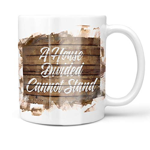 - Neonblond 11oz Coffee Mug Painted Wood A House Divided Cannot Stand with your Custom Name