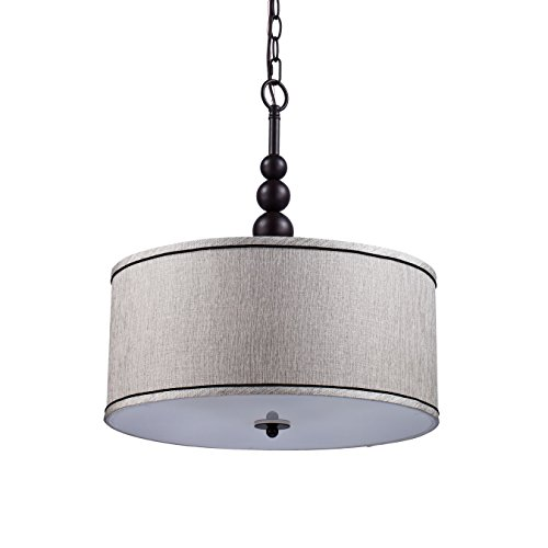 YOBO Lighting Vintage Modern Glass 3-Light Kitchen Chandeliers, Oil Rubbed Bronze Drum Shade Hanging Pendant Light