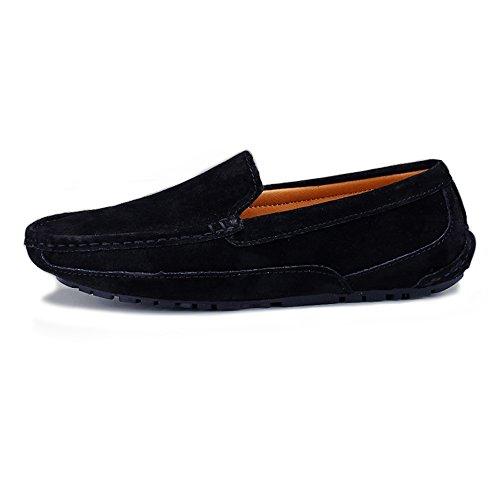 tamaño de Zapatos Mano Mocasines Mocasines shoes Genuino EU Hecho 38 Cuero los Barco de Trabajo Penny Color Gris Sutura Conducción Xiaojuan a Gamuza Hombres Negro 1aqTvv