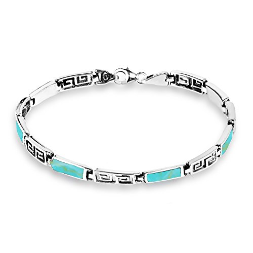 AeraVida Greek Key Labyrinth Simulated Turquoise Inlay .925 Sterling Silver Link - Greek Key Jewelry