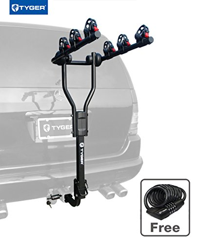 "Tyger Auto TG-RK3B101S 3-Bike Hitch Mount Bicycle Carrier Rack | Free Hitch Lock & Cable Lock | Fits both 1.25"" and 2"" Hitch Receiver"