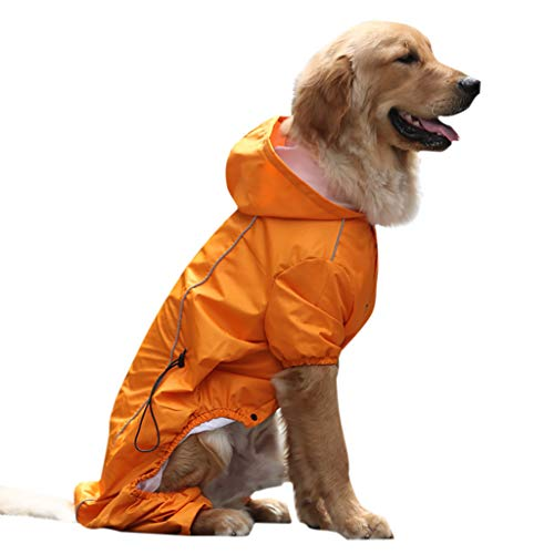 Kimanli Dog Raincoat Golden Retriever Large Dog Hooded Legs Waterproof and Rainproof Pet Raincoat (S, Orange) (Tissue 19' Balls)