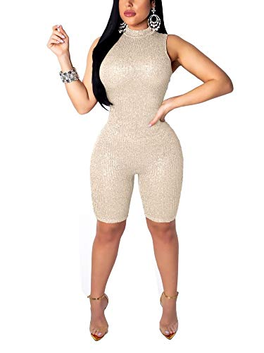 Succi Womens Sexy Sleeveless Sequins Pullover Party Bodycon Short Jumpsuit Romper Champagne S