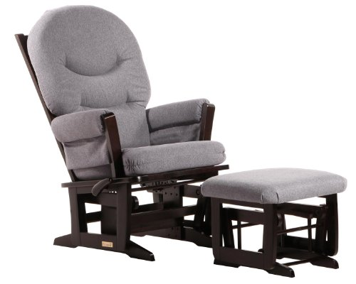 (Dutailier Modern Glider-Multi-Position Recline and Nursing Ottoman Combo, Espresso/Dark Grey)