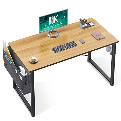 ODK Computer Writing Desk 39 inch, Sturdy Home Office Table, Work Desk with A Storage Bag and Headphone Hook, Walnut