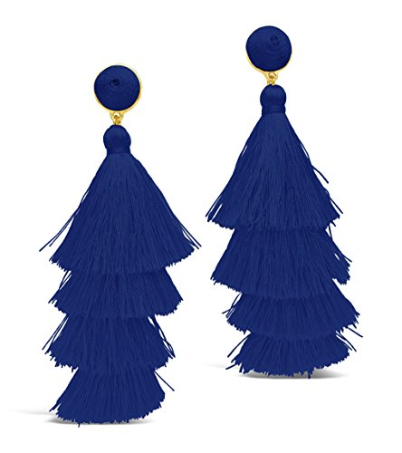 Sterling Forever - Fringe Multi Layered Gold Plated Tiered Dangle Drop Earrings (Cobalt - Tassel Gold Plated