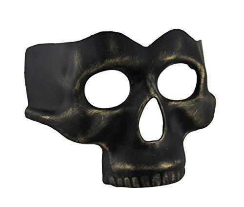 Black Gold Finish Half Face Skull Mask -