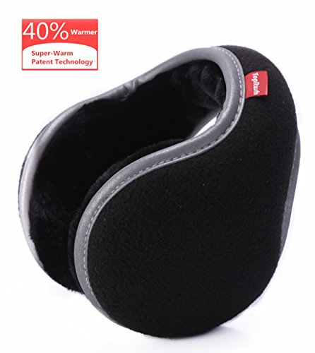 (TopRush Foldable Ear Warmers/Ear Muffs - High-Class Windproof Fleece Winter Earmuffs for Men Women & Kids)