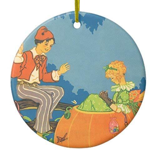 Ditooms Vintage Nursery Rhyme, Peter Peter Pumpkin Eater Ceramic Ornament Circle 3 Inches