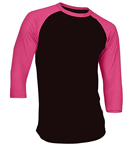 Men's Plain Athletic 3/4 Sleeve Baseball Sports T-Shirt Raglan Shirt S-XL Team Jersey Black Pink 2XL
