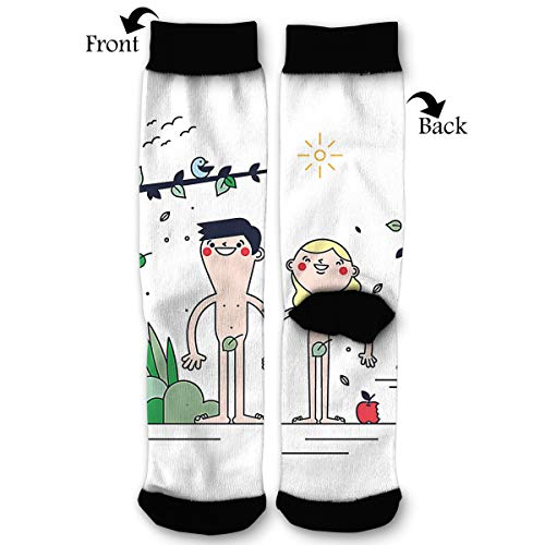 (EKUIOP Socks Adam and Eve Funny Fashion Novelty Advanced Moisture Wicking Sock for Man)