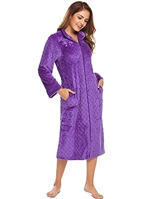 Avidlove Womens Mens Long Sleeve Flannel Robe Zip Front Textured Robe Warm Nightrobe
