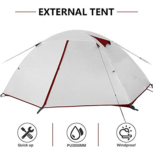 Forceatt Tente 2-4 Personnes Camping, 4 Saison Imperméable Anti UV, Tente Ultra Legere Facile Dôme Double Couchepour… 2
