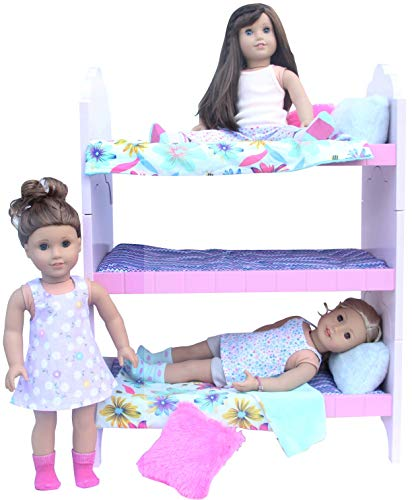 "PZAS Toys 18 Inch Doll Bed - Bunk Bed Furniture for 18"" Doll. Complete Set with Linens, Pajamas, 3 Teddy Bears and More! Compatible with 18"" Doll Clothes from PZAS Toys"