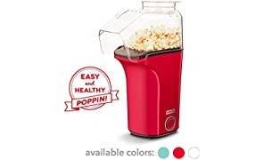 DASH DAPP150V2RD04 Hot Air Popcorn Popper Maker with Measuring Cup to Portion Popping Corn Kernels + Melt Butter, 16, Red