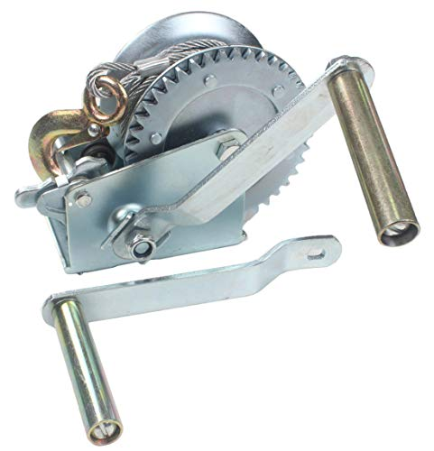 - AC-DK 1600 lb - 3500 lb Hand Gear Winch Come with Two Crank Handles! - Manual Operating with Strap & Cable for Boats and Trailers(1600 lb with Cable).