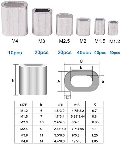 50 Stück M4 Rundlöcher Quetschhülsen Drahtseil Aluminium Klemmhülsen