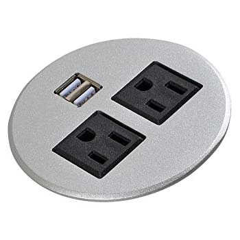 Amazon.com: Aluminum Alloy Surface Power Tap grommet 2 X AC Outlet ...