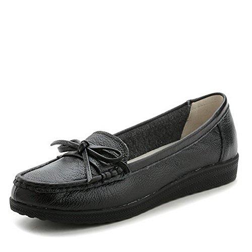 AllhqFashion Damen Ziehen auf Blend-Materialien Rund Zehe Niedriger Absatz Rein Pumps Schuhe Schwarz